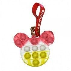 Jucarie senzoriala antistres, portofel pentru copii, Pop It Now and Flip It, Ursulet roz alb galben