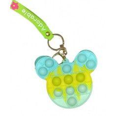Jucarie senzoriala antistres, portofel pentru copii, Pop It Now and Flip It, Ursulet albastru turcoaz verde