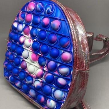 Jucarie senzoriala antistres, ghiozdan de scoala pentru copii, Pop It Now and Flip It, Macarons, 20 cm, multicolor