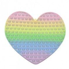 Jucarie senzoriala antistres pentru copii, Pop It Now, Inimioara Uriasa Fosforescenta, Multicolor, model 4