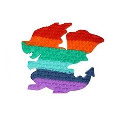 Jucarie senzoriala antistres pentru copii, Pop It Now, Dragon Uriasa, Multicolor