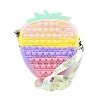 Jucarie senzoriala antistres, posetuta  capsunica pentru fetite, Pop It Now and Flip It, multicolor