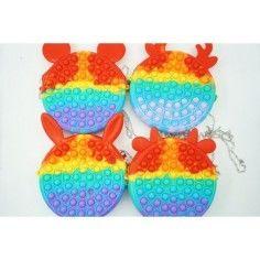 Jucarie senzoriala antistres, geanta de umar pentru fetite, Pop It Now and Flip It, multicolor