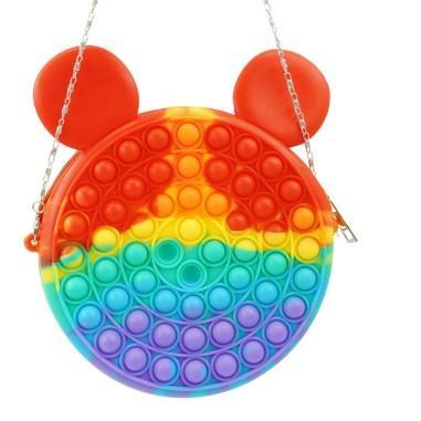 Jucarie senzoriala antistres, geanta de umar pentru fetite, Pop It Now and Flip It, multicolor 2